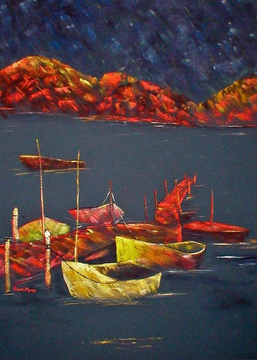 Boat Greeting Card featuring the painting Boats At Nightfall by Rhonda Myers