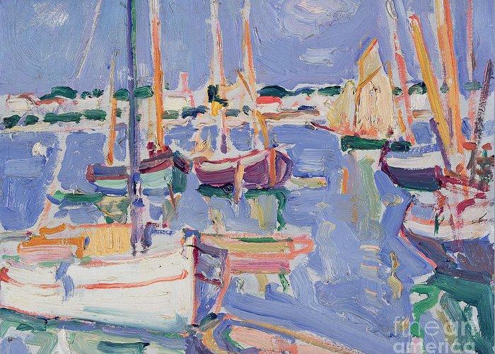 Boats Greeting Card featuring the painting Boats At Royan by Samuel John Peploe