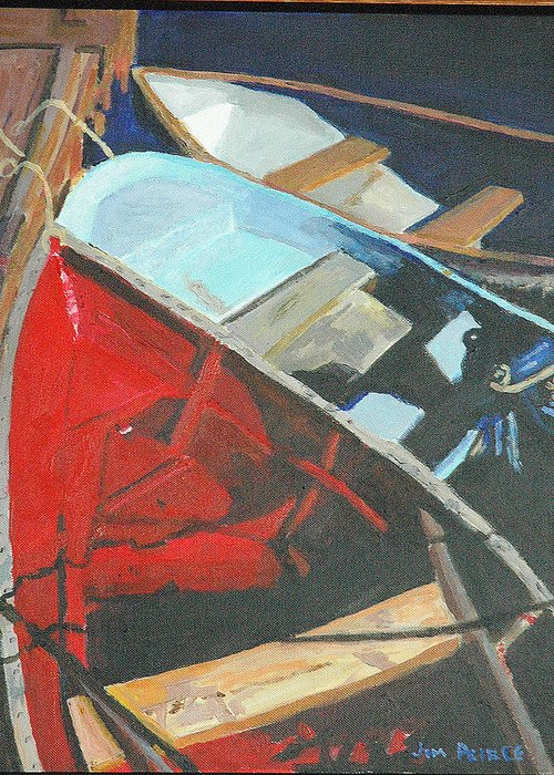 Boats At The Dock Greeting Card featuring the painting Boats At The Dock by Jim Peirce