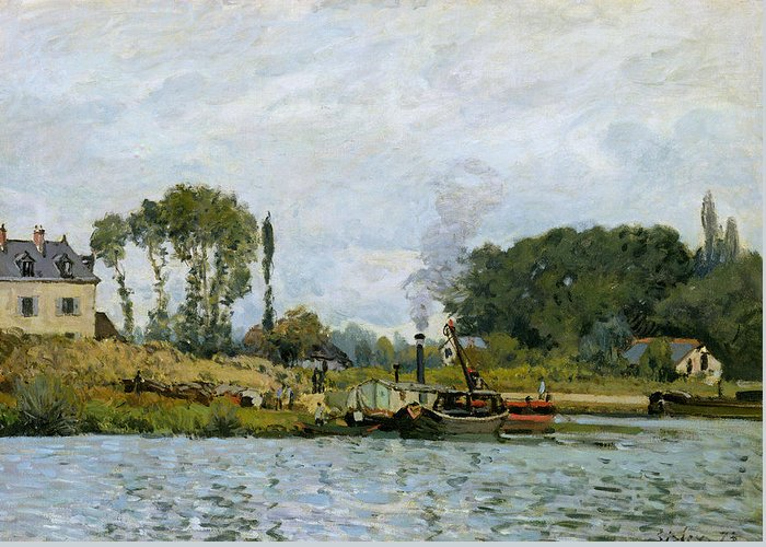 Boats At The Lock At Bougival Greeting Card featuring the painting Boats At The Lock At Bougival by Alfred Sisley