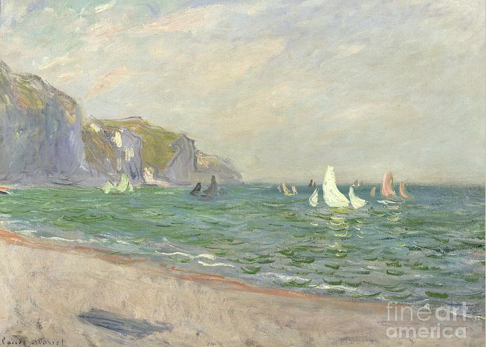 Boats Greeting Card featuring the painting Boats Below The Cliffs At Pourville by Claude Monet