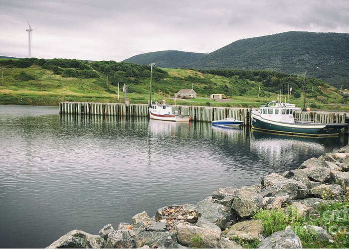 Boats Greeting Card featuring the photograph Boats Docked In Harbor Cape Bretton Island ,, Nova Scotia by Nick Jene