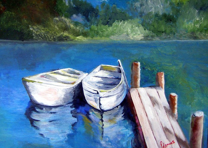 Landscape Greeting Card featuring the painting Boats Docked by Julie Lamons