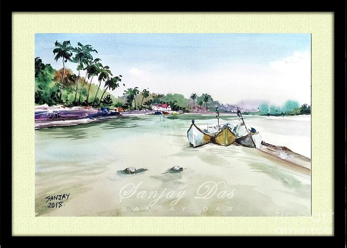Watercolor Greeting Card featuring the painting Boats In Beach by Sanjay Das