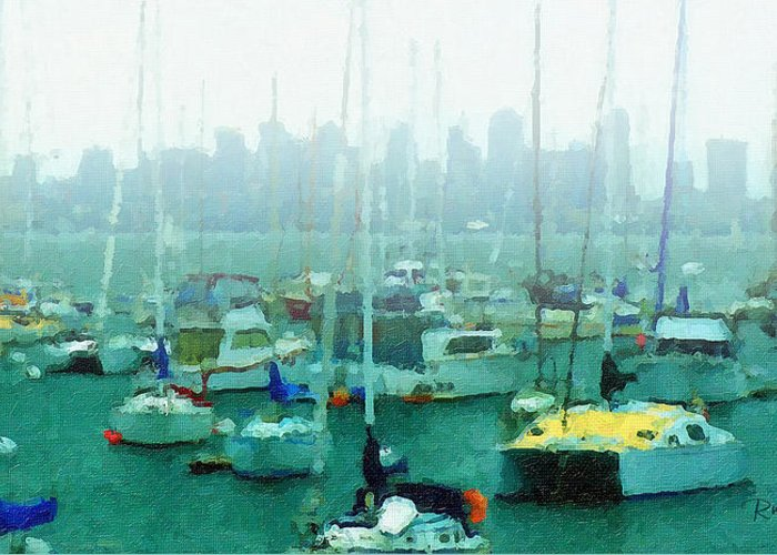 Boats Greeting Card featuring the painting Boats In The Bay by Russ Harris