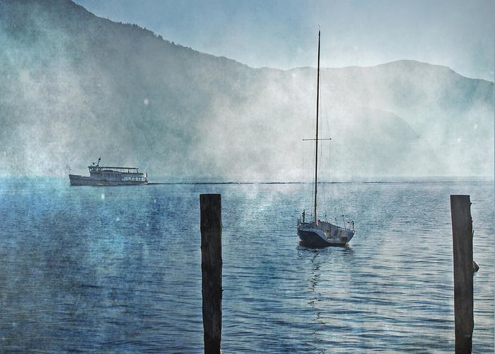 Fog Greeting Card featuring the photograph Boats In The Fog by Joana Kruse