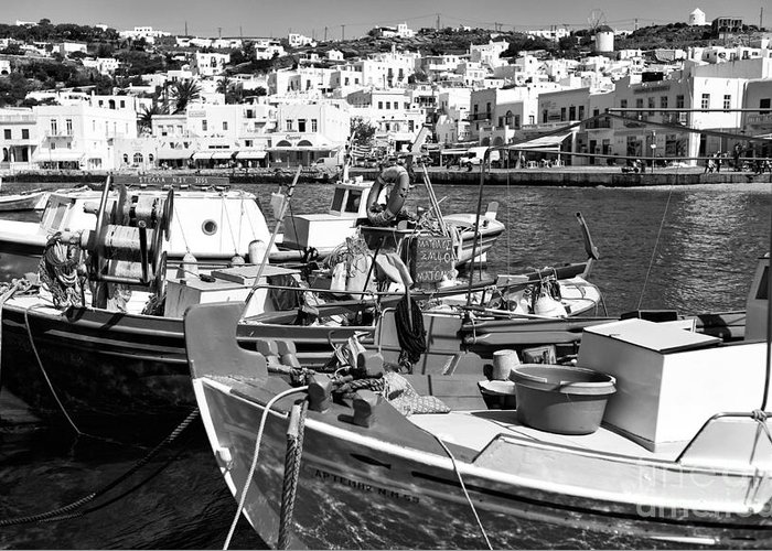 Boats In The Mykonos Harbor Greeting Card featuring the photograph Boats In The Mykonos Harbor Mon by John Rizzuto