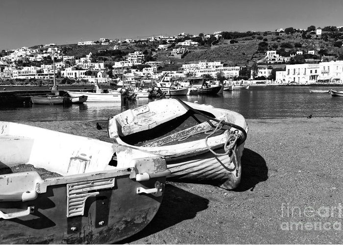 Boats In The Mykonos Old Port Greeting Card featuring the photograph Boats In The Mykonos Old Port Mono by John Rizzuto