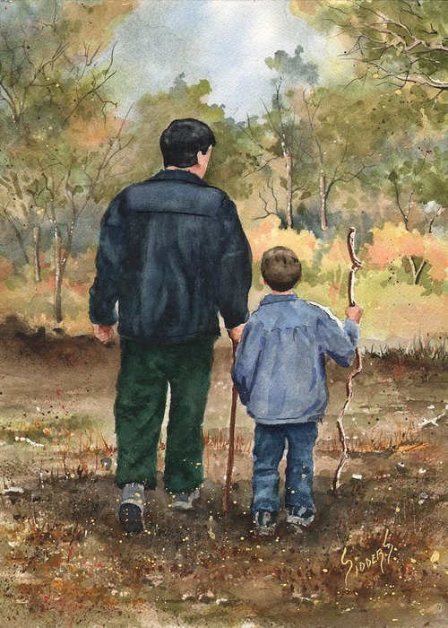 Walk Greeting Card featuring the painting Bob And Alex by Sam Sidders