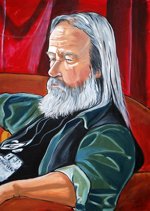 Figurative Portrait Seated Figure Male Man White Hair Beard Older Green Red Black White Greeting Card featuring the painting Bob by Diana Blackwell