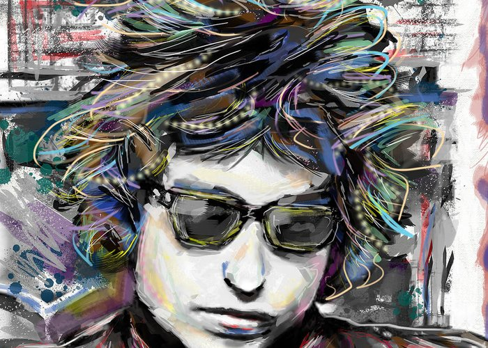 Bob Dylan Greeting Card featuring the mixed media Bob Dylan Art by Ryan Rock Artist