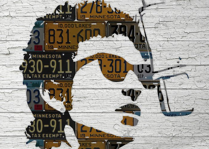 Bob Dylan Greeting Card featuring the mixed media Bob Dylan Minnesota Native Recycled Vintage License Plate Portrait On White Wood by Design Turnpike
