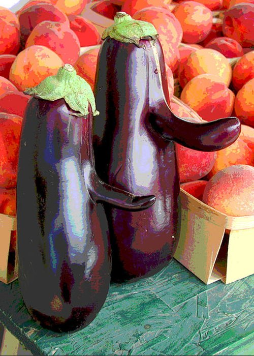 Eggplant Greeting Card featuring the mixed media Bob Hope And Friend by Catherine ONeil