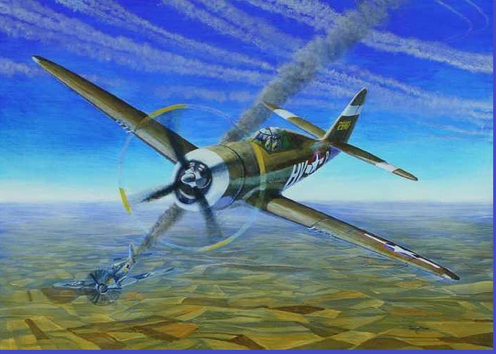 Bob Johnsons P-47 On October 10 Greeting Card featuring the painting Bob Johnsons Thunderbolt by Scott Robertson