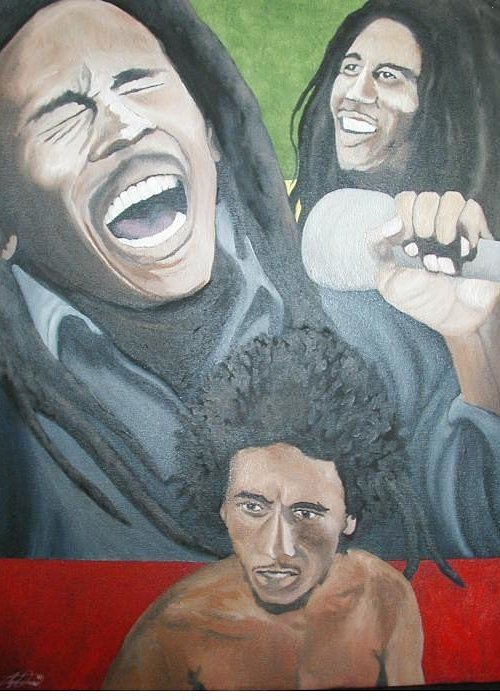 Portrait Greeting Card featuring the painting Bob Marley Montage by Angelo Thomas