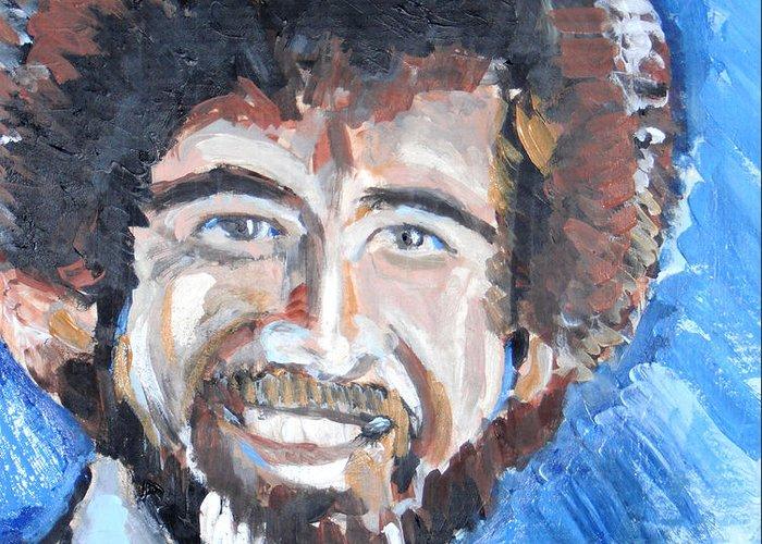 Bob Ross Greeting Card featuring the painting Bob Ross by Jon Baldwin Art