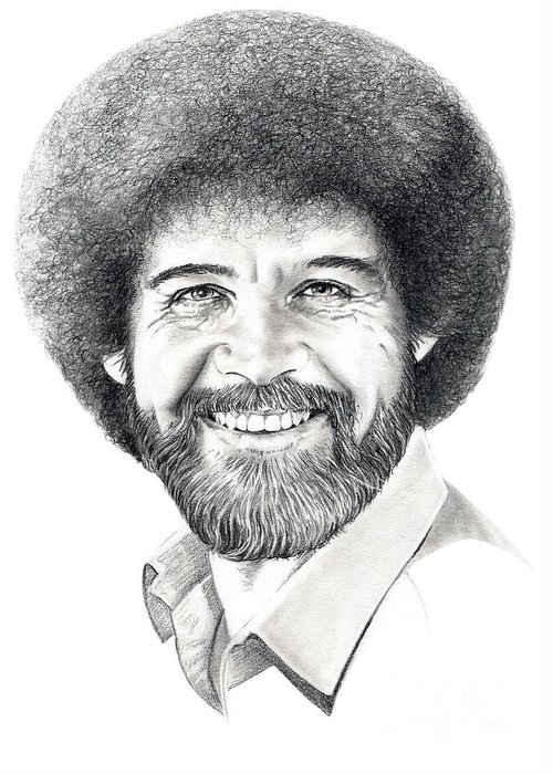 Pencil Greeting Card featuring the drawing Bob Ross by Murphy Elliott