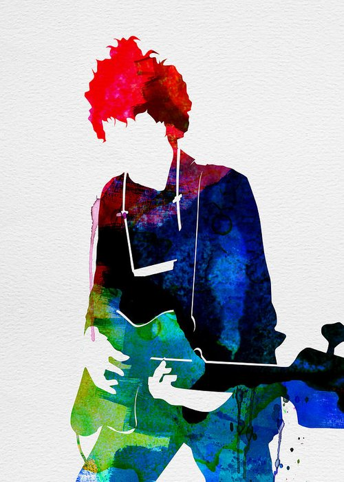 Bob Dylan Greeting Card featuring the painting Bob Watercolor by Naxart Studio