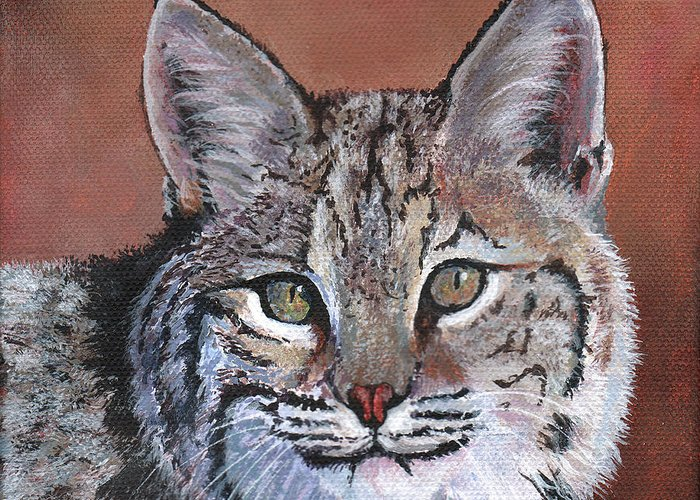 Timithy Greeting Card featuring the painting Bobcat by Timithy L Gordon