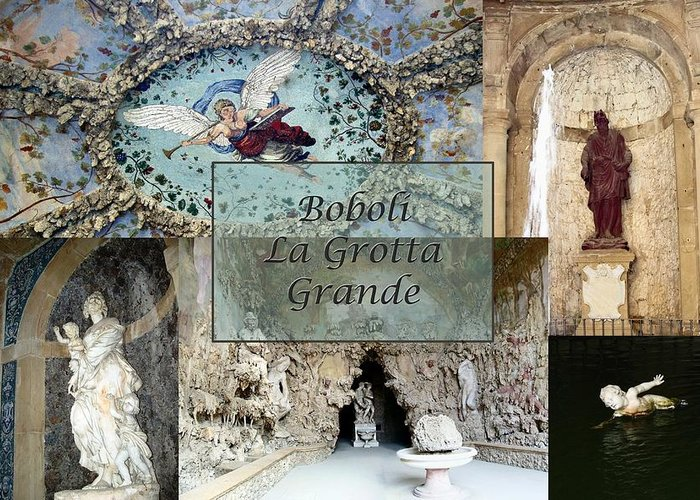 Cave Greeting Card featuring the photograph Boboli La Grotta Grande 2 by Ellen Henneke