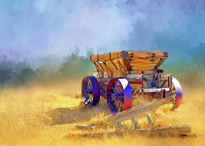 Bodie Greeting Card featuring the digital art Bodie Ore Wagon Painted by Casey Heisler