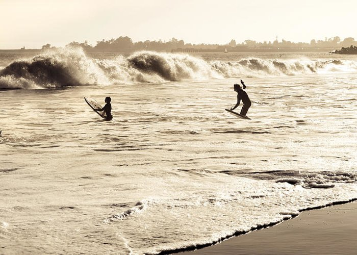 Body Surfing Greeting Card featuring the photograph Body Surfing Family by Marilyn Hunt