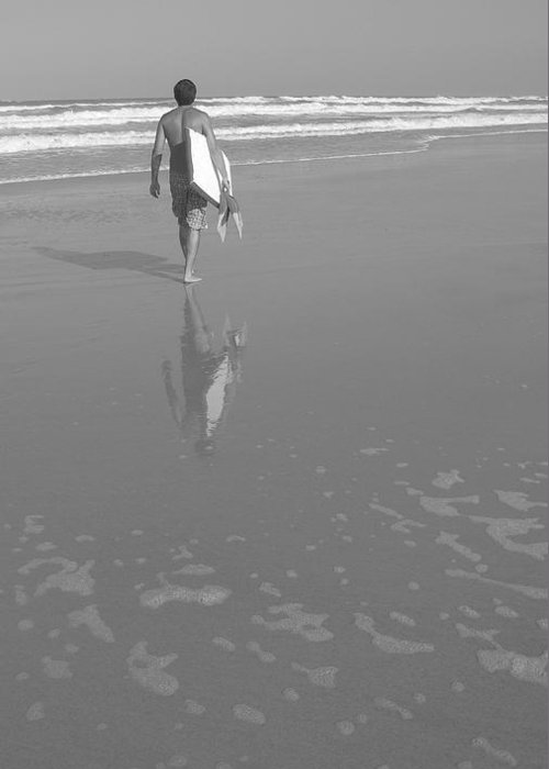 Black And White Greeting Card featuring the photograph Bodyboarding In Black And White 2 by Mandy Shupp