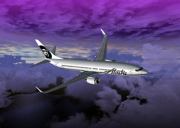 Aviation Greeting Card featuring the digital art Boeing 737 Ng 001 by Mike Ray