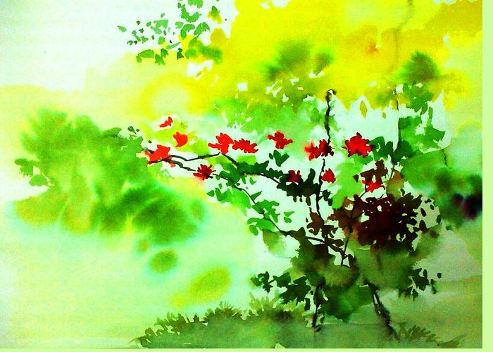 Floral Greeting Card featuring the painting Boganwel by Anil Nene