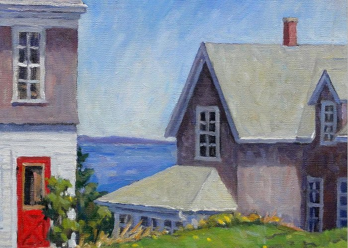 Oil Greeting Card featuring the painting Bogdanov House Monhegan by Thor Wickstrom