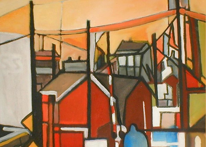 Suburban Greeting Card featuring the painting Bogota Industrial by Ron Erickson