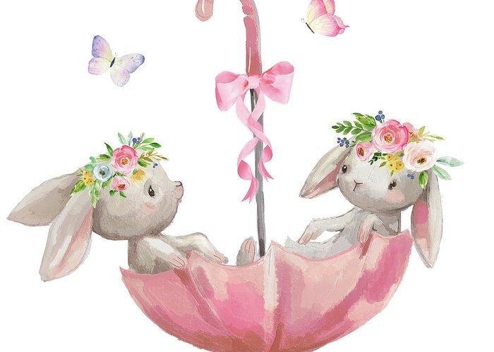 Boho Bunny Rabbits Bunnies Umbrella Watercolor Nursery Wall Art ...