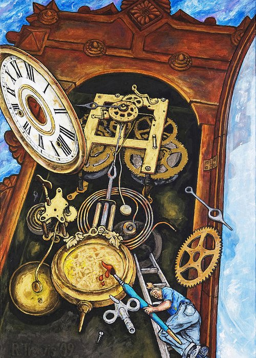 Clock Greeting Card featuring the painting Boing by Rich Travis