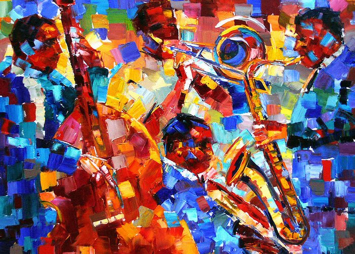 Jazz Greeting Card featuring the painting Bold Jazz Quartet by Debra Hurd