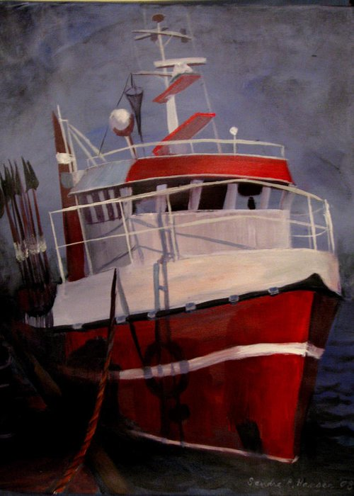 Fishing Greeting Card featuring the painting Bold Power by Art Nomad Sandra Hansen