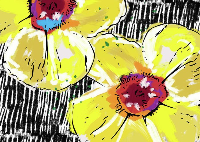 Flowers Greeting Card featuring the mixed media Bold Yellow Poppies- Art By Linda Woods by Linda Woods