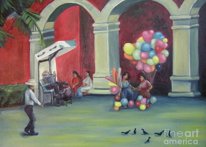 Mexico Greeting Card featuring the painting Boleo en la Plaza by Lilibeth Andre