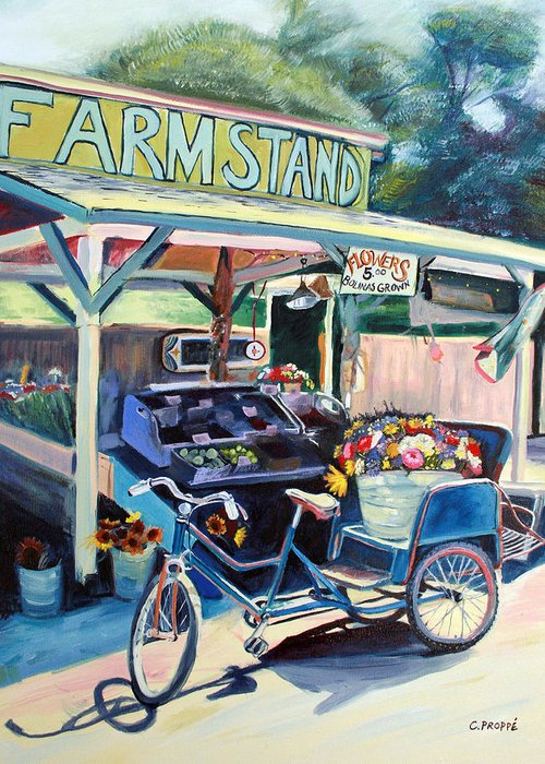 Bike Art Greeting Card featuring the painting Bolinas Farmstand Bike by Colleen Proppe