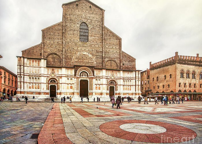 Abbey Greeting Card featuring the photograph Bologna, Italy San Petronio Basilica Facade Crescentone by Luca Lorenzelli