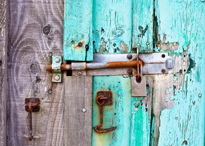 Area Greeting Card featuring the photograph Bolted Door by Tom Gowanlock