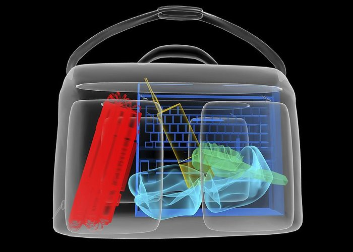 Explosives Greeting Card featuring the photograph Bomb Inside Briefcase, Simulated X-ray by Christian Darkin
