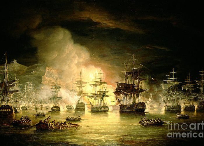 Bombardment Of Algiers Greeting Card featuring the painting Bombardment Of Algiers by Thomas Luny