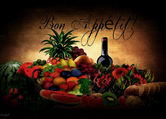 Greeting Card featuring the digital art Bon Appetit by Lourry Legarde