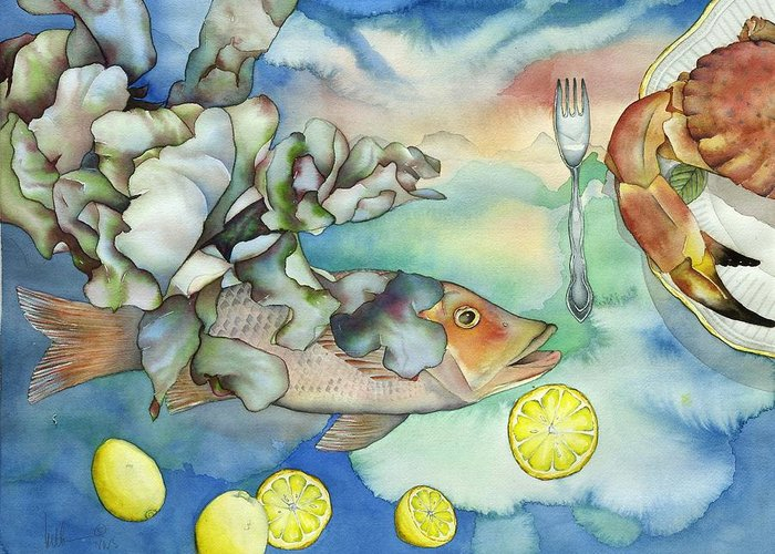 Sealife Greeting Card featuring the painting Bon Appetit Together Left Image by Liduine Bekman