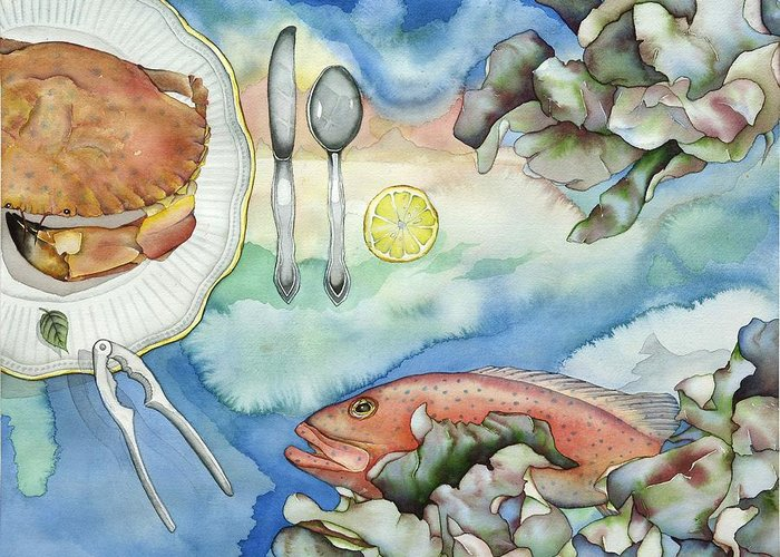 Sea Greeting Card featuring the painting Bon Appetit Together Right Image Diptych by Liduine Bekman
