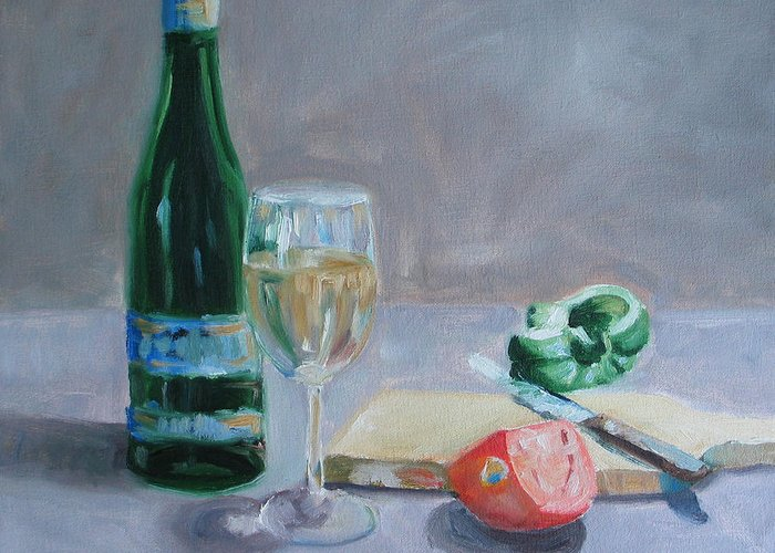 Wine Greeting Card featuring the painting Bon Appetite by Paul Walsh