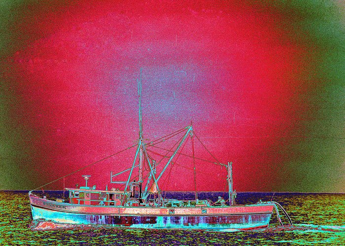 Fishing Boat Greeting Card featuring the photograph Bonaker by Richard Henne