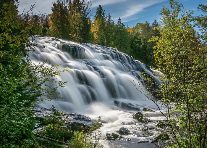 Michigan Waterfall Greeting Card featuring the photograph Bond Falls by William Christiansen