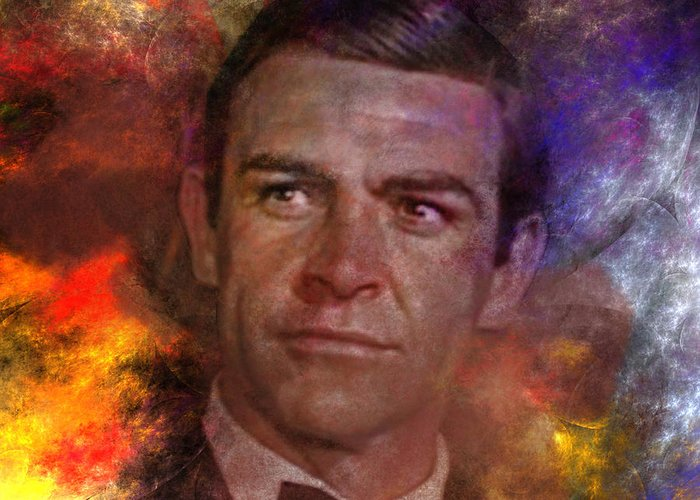 James Bond Greeting Card featuring the digital art Bond - James Bond - Square Version by John Robert Beck