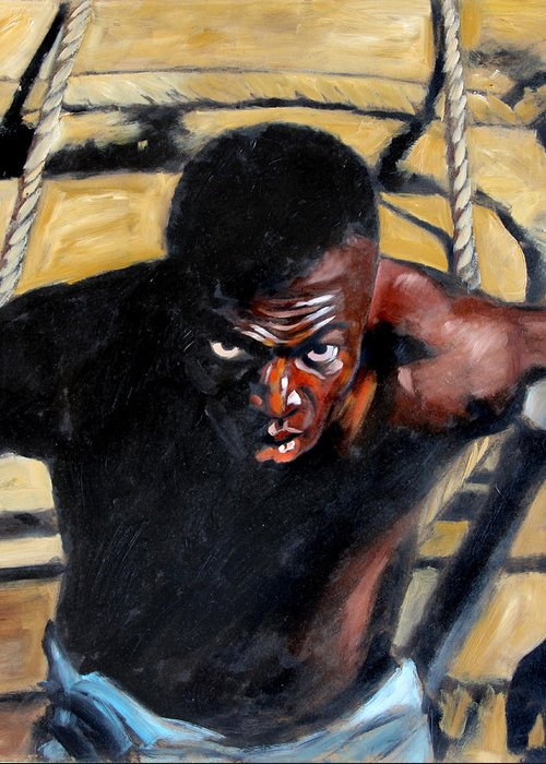 Slavery Greeting Card featuring the painting Bondage by John Lautermilch